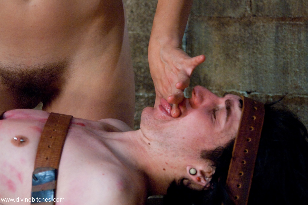 Male slave covered in cum