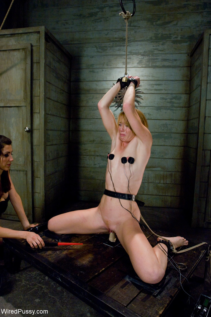 wired pussy women tied up in lesbian electro bondage